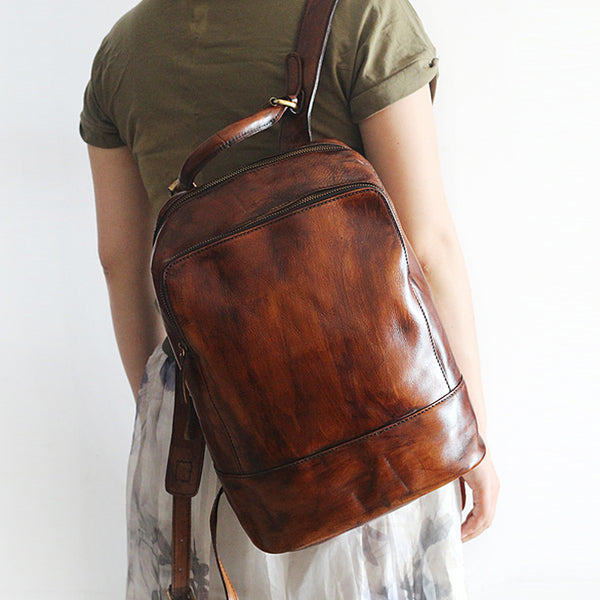 Vintage Womens Small Brown Leather Backpack Bag Purse Cool Backpacks for Women beautiful