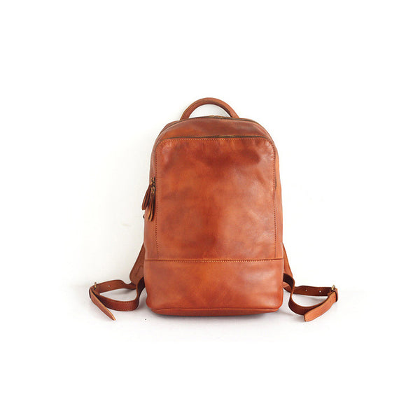 Vintage Womens Small Brown Leather Backpack Bag Purse Cool Backpacks for Women fashion