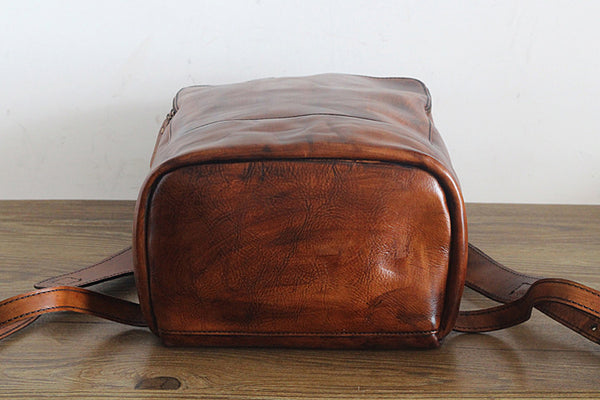 Vintage Womens Small Brown Leather Backpack Bag Purse Cool Backpacks for Women quality