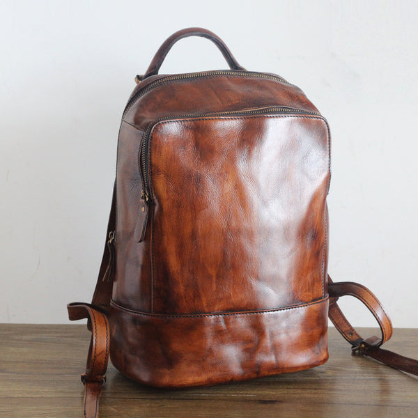 Vintage Womens Small Brown Leather Backpack Bag Purse