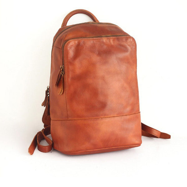 Vintage Womens Small Brown Leather Backpack Bag