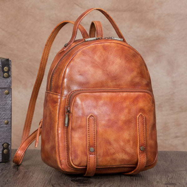 Handmade Womens Small Brown Leather Backpack Purse Cool Backpacks for Women