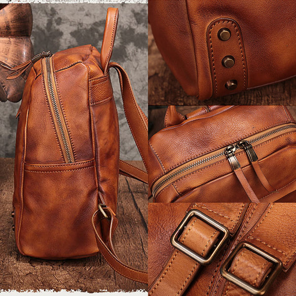 Vintage Womens Small Brown Leather Zip Backpack Bag Purse Back Pack for Women cute