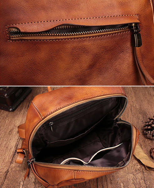Vintage Womens Small Brown Leather Zip Backpack Bag Purse Back Pack for Women Designer