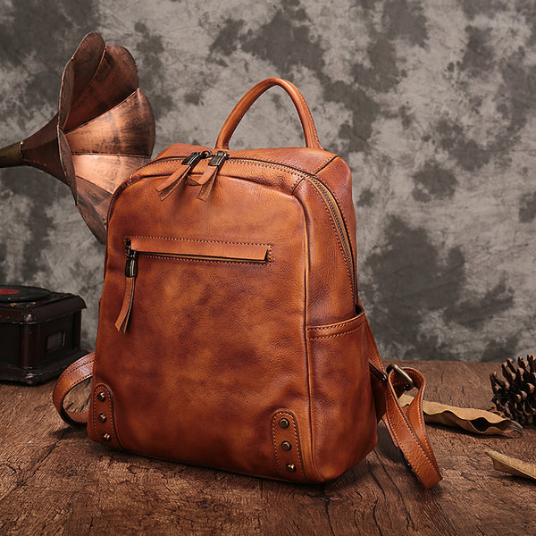 Vintage Womens Small Brown Leather Zip Backpack Bag Purse Back Pack for Women