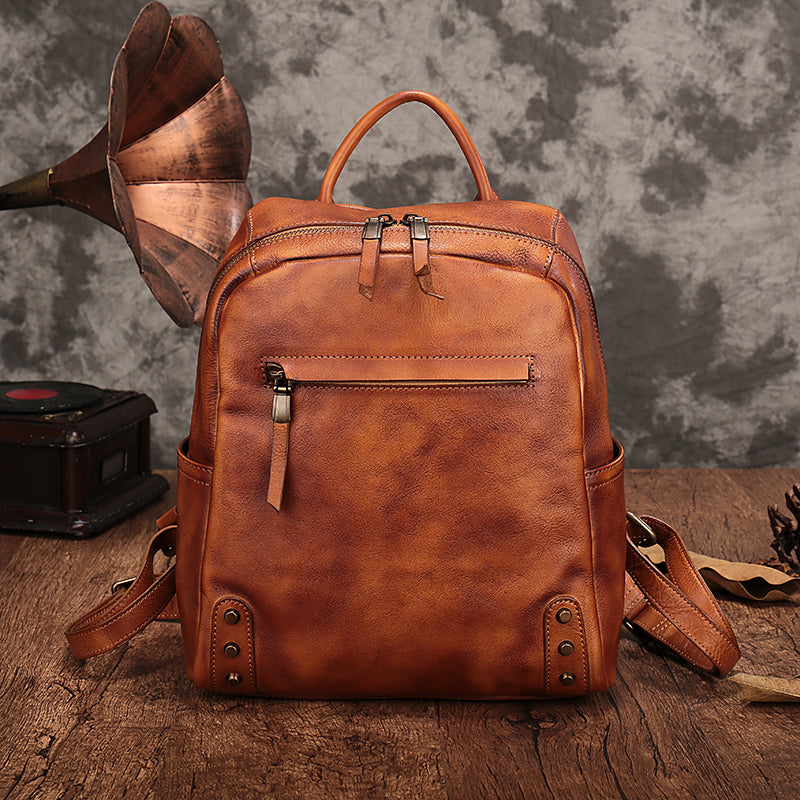 Vintage Womens Small Brown Leather Zip Backpack Bag Purse