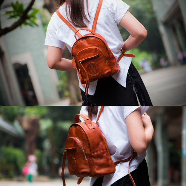 Vintage Womens Mini Genuine Leather Backpack Bag Purse Backpacks for Women funky