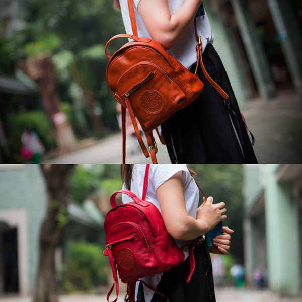 Vintage Womens Mini Genuine Leather Backpack Bag Purse Backpacks for Women stylish