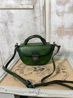 Vintage Womens Small Green  Leather Crossbody Saddle Bag Handbags for Women