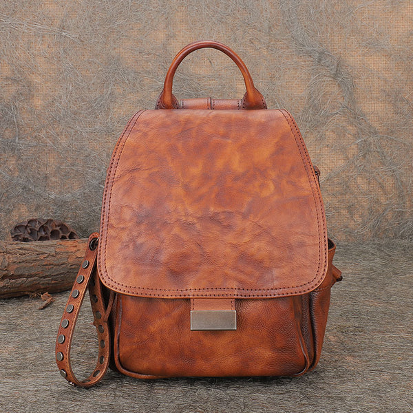 Vintage Womens Small Leather Backpack Purse Cross Shoulder Bag Handbags for Women Beautiful