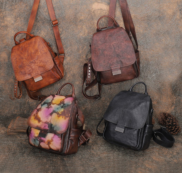 Vintage Womens Small Leather Backpack Purse Cross Shoulder Bag Handbags for Women Cool