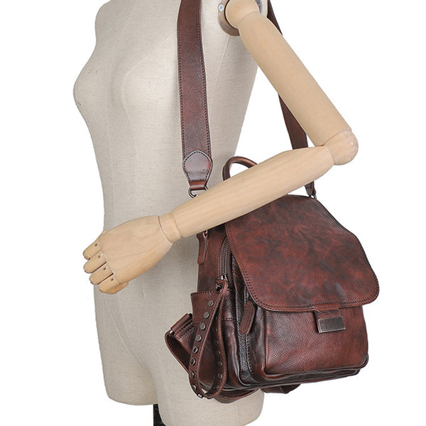 Vintage Womens Small Leather Backpack Purse Cross Shoulder Bag Handbags for Women Cowhide