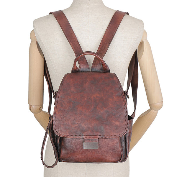 Vintage Womens Small Leather Backpack Purse Cross Shoulder Bag Handbags for Women Cute