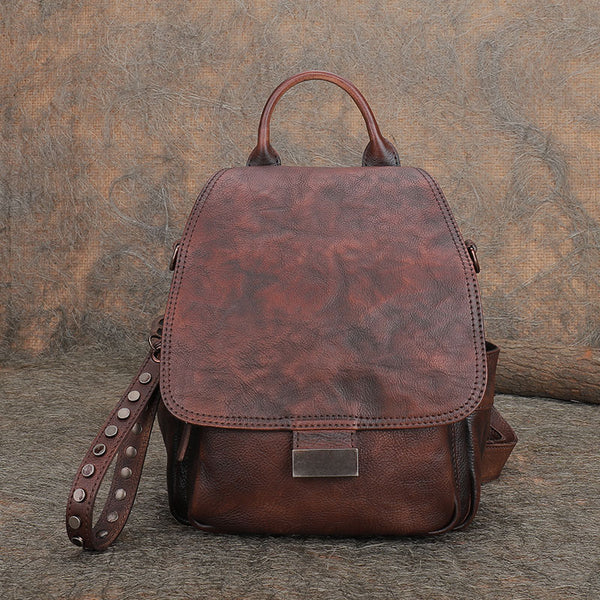 Vintage Womens Small Leather Backpack Purse Cross Shoulder Bag Handbags for Women