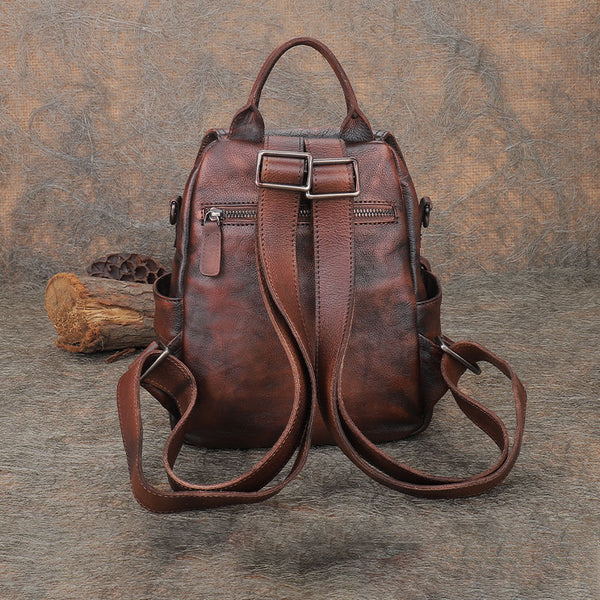 Vintage Womens Small Leather Backpack Purse Cross Shoulder Bag Handbags