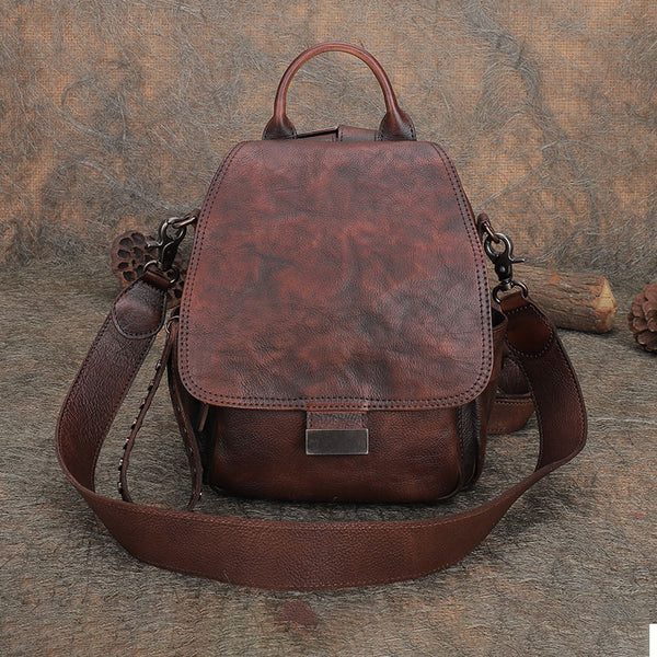 Vintage Womens Small Leather Backpack Purse Cross Shoulder Bag