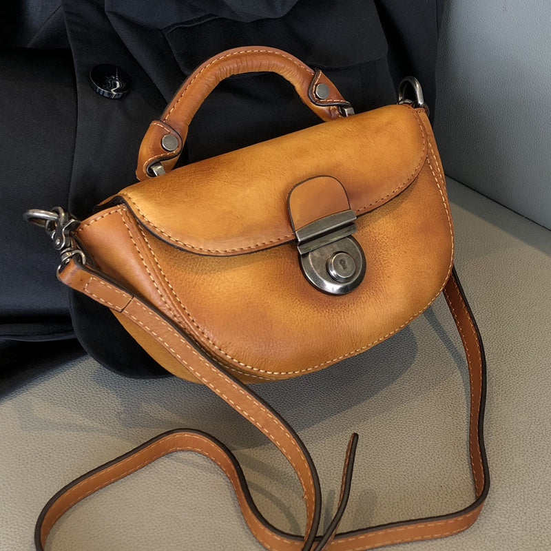 Vintage Womens Small Leather Crossbody Saddle Bag Handbags for Women Accessories