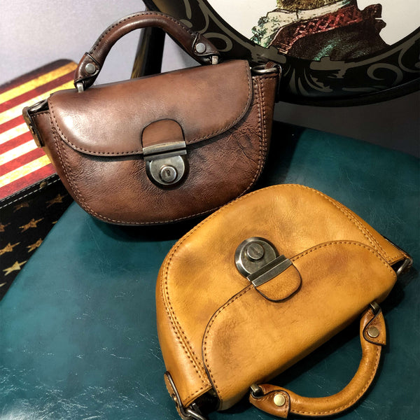 Vintage Womens Small Leather Crossbody Saddle Bag Handbags for Women Brown