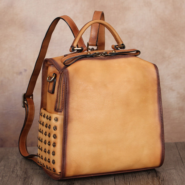 Vintage Womens Small Square Leather Backpack Purse Sling Bags for Women Affordable
