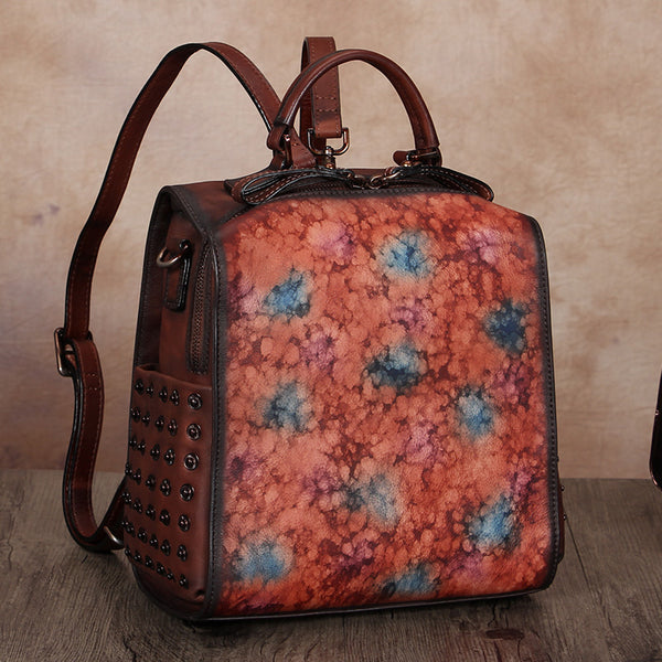 Vintage Womens Small Square Leather Backpack Purse Sling Bags for Women Chic