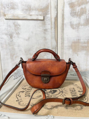 Vintage Womens Small Brown Leather Crossbody Saddle Bag Handbags for Women