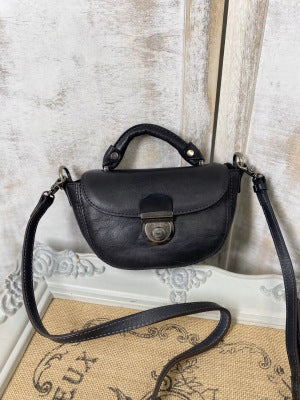 Vintage Womens Small Black Leather Crossbody Saddle Bag Handbags for Women