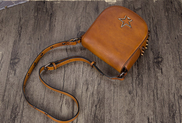 Vintage Womens Tan Leather Crossbody Saddle Bag Small Satchel Purse for Women Designer