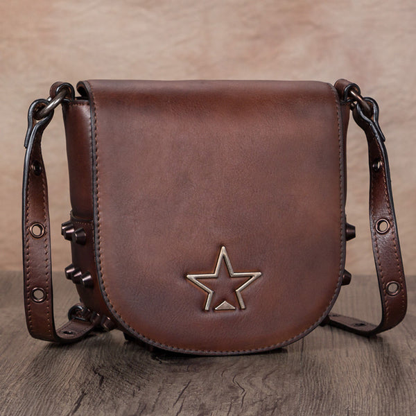 Vintage Womens Tan Leather Crossbody Saddle Bag Small Satchel Purse for Women beautiful