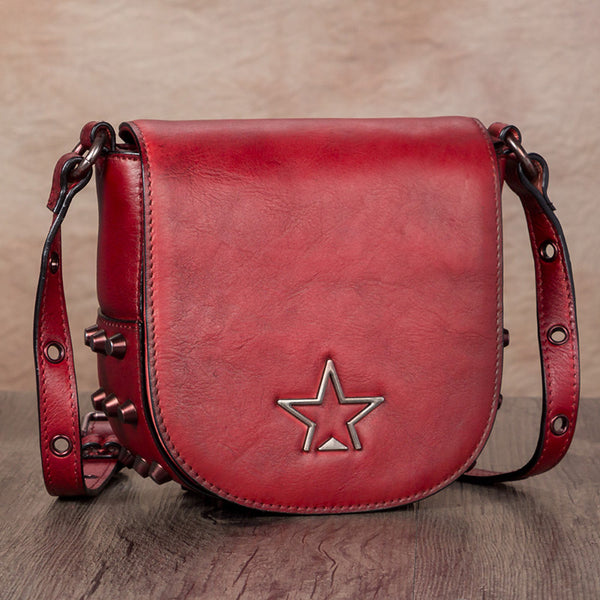 Vintage Womens Tan Leather Crossbody Saddle Bag Small Satchel Purse for Women best
