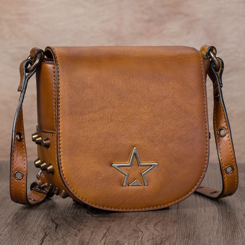 Vintage Womens Tan Leather Crossbody Saddle Bag Small Satchel Purse for Women cool