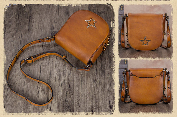 Vintage Womens Tan Leather Crossbody Saddle Bag Small Satchel Purse for Women fashion