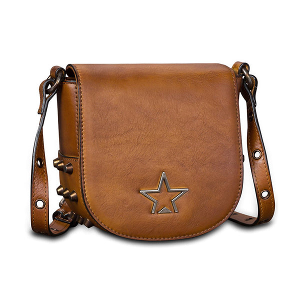 Vintage Womens Tan Leather Crossbody Saddle Bag