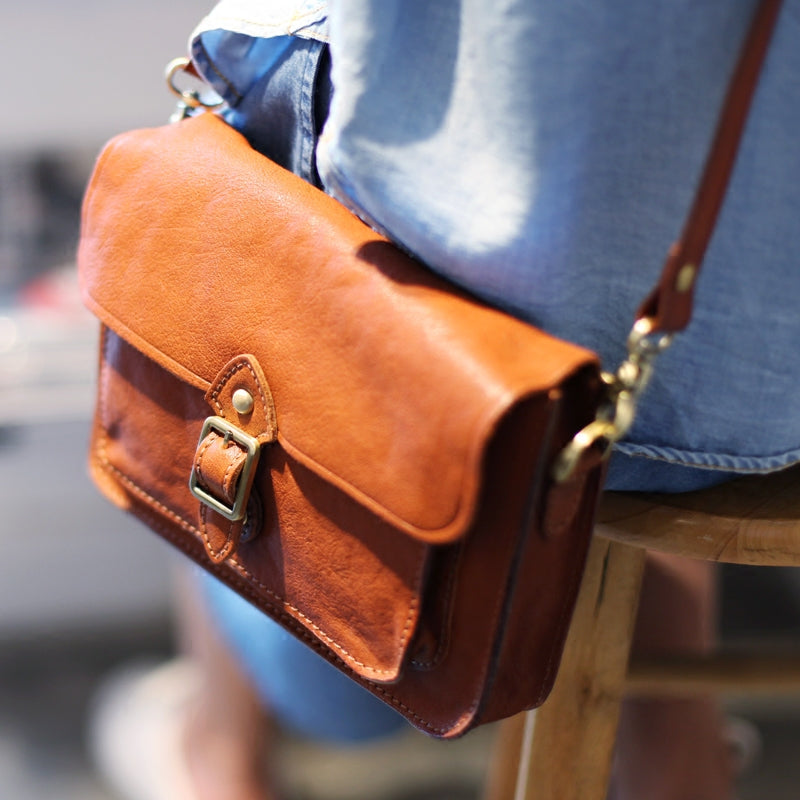 Vintage handmade Genuine Soft Leather Messenger Crossbody Bag Satchel Purses Women