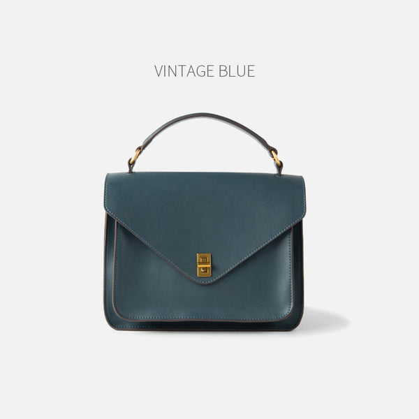 Womens Blue Leather Satchel Bag Crossbody Bags Purses for Women