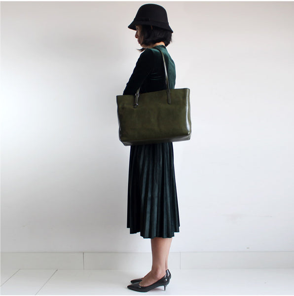 Vintage Womens Green Leather Tote Bag Handbags Shoulder Bag for Women