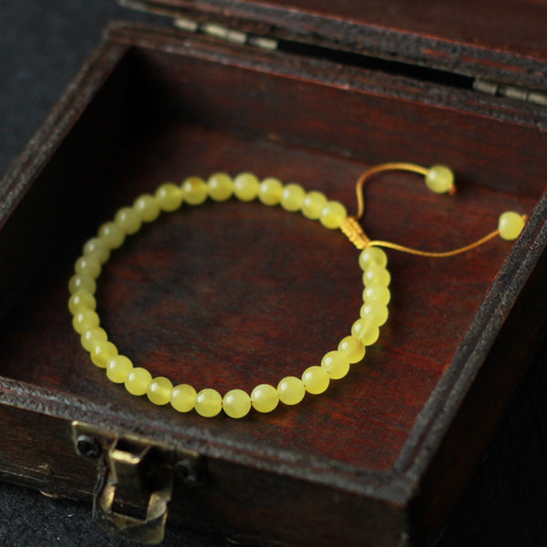 Wax Jade Beaded Bracelet Handmade Jewelry Accessories Gift for Women