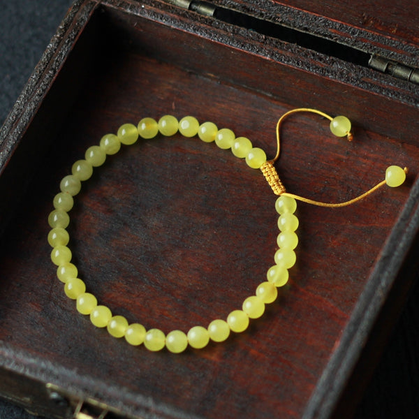 Wax Jade Beaded Bracelet Handmade Jewelry Accessories Gift Women cute
