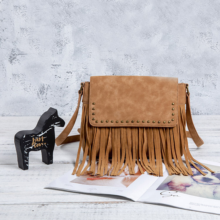 Western Ladies Brown Vegan Leather Fringe Crossbody Purse Shoulder Bag For Women Accessories