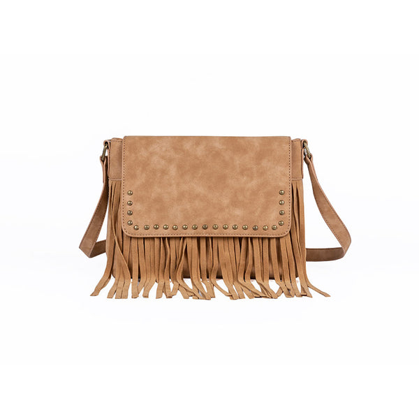 Western Ladies Brown Vegan Leather Fringe Crossbody Purse Shoulder Bag For Women Affordable
