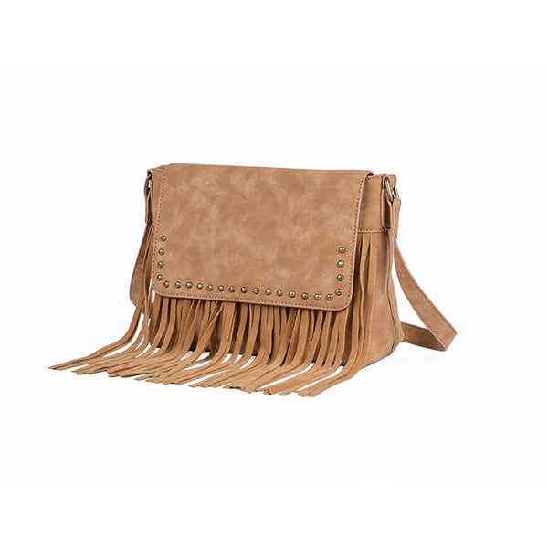 Western Ladies Brown Vegan Leather Fringe Crossbody Purse Shoulder Bag For Women Beautiful