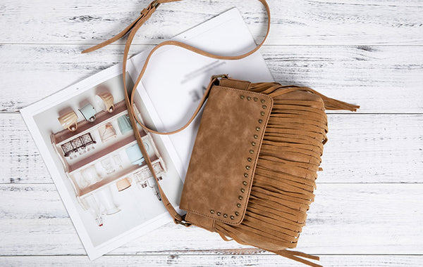 Western Ladies Brown Vegan Leather Fringe Crossbody Purse Shoulder Bag For Women Chic