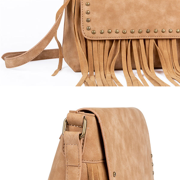 Western Ladies Brown Vegan Leather Fringe Crossbody Purse Shoulder Bag For Women Details