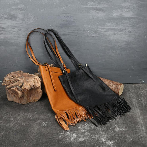 Western Womens Leather Hobo Tote Bag Handbags Shoulder Purse With Fringe