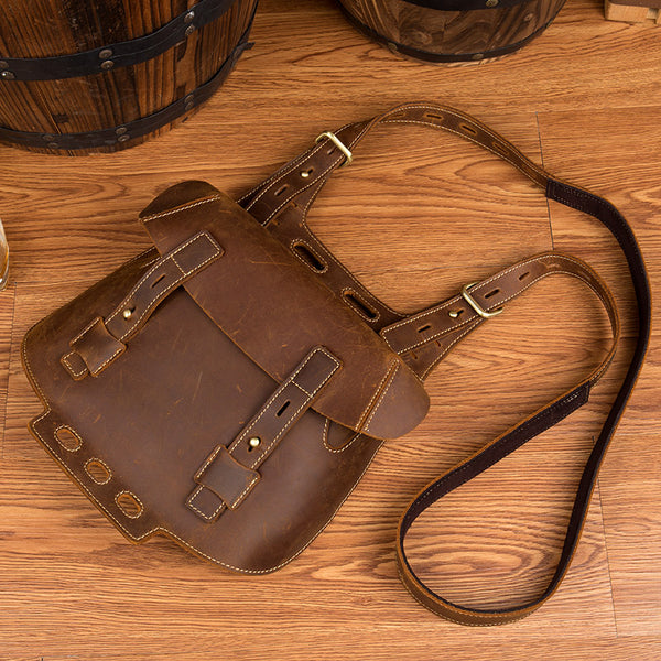 Western Women's Brown Leather Crossbody Satchel Bag Purse Side Bag For Womens Affordable