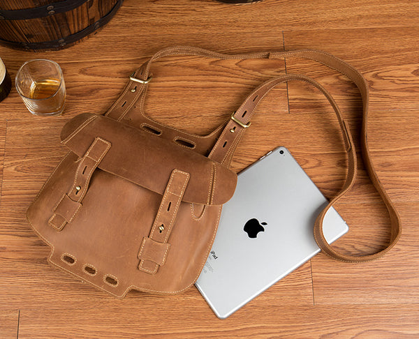 Western Women's Brown Leather Crossbody Satchel Bag Purse Side Bag For Womens Cool