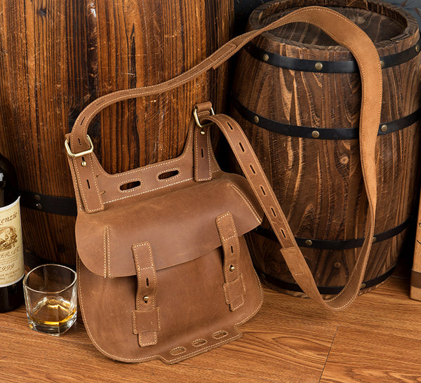 Western Women's Brown Leather Crossbody Satchel Bag Purse Side Bag For Womens Cowhide