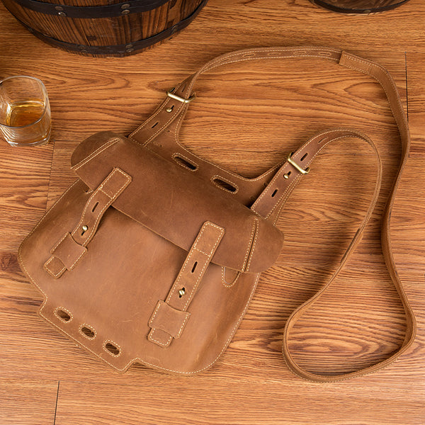 Western Women's Brown Leather Crossbody Satchel Bag Purse Side Bag For Womens