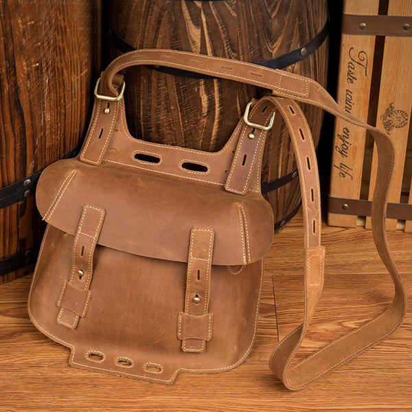 Western Women's Brown Leather Crossbody Satchel Bag Purse Side Bag