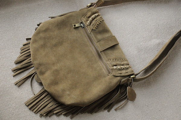 Western Womens Boho Leather Suede Fringe Crossbody Purse Satchel Bag for Women Cool