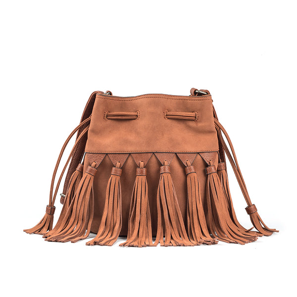Western Womens PU Leather Crossbody Bucket Purse With Fringe  Bags for Women Accessories